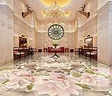 BZDHWWH Moderne Mode 3D Bodenbelag Fototapete Schmetterling Rose Selbstklebende Tapete 3D Bodenfliesen Für Wohnzimmer Clubhaus,250Cm X 350Cm