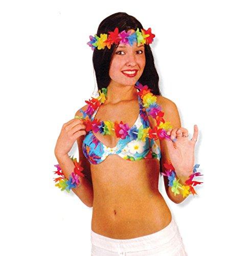 Hawaii Blüten-Set 4-tlg. bunt Stirnband Kette Armbänder Beach Party (Party Funny Kostüme Beach)