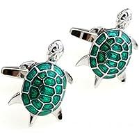 Wicemoon Gemelos para hombre, diseño de tortuga verde, gemelos para hombre o negocio, boda, fiesta, regalo