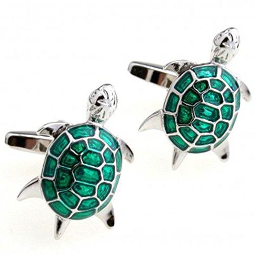 Ynnxia grüne Schildkröte Französisch Manschetten Einfache Manschettenknöpfe Business Herrenhemd Zubehör 1 Paar - Manschette Grün Französisch Hemd