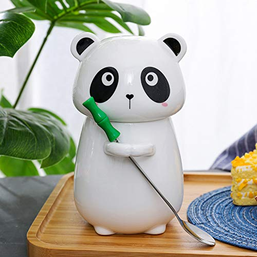 etassen Cartoon Panda Keramik Tassen und Becher Tasse mit Deckel und Löffel Geschenk Tasse chinesischen Stil Milch Frühstück Tasse,Stil A,450 ml ()