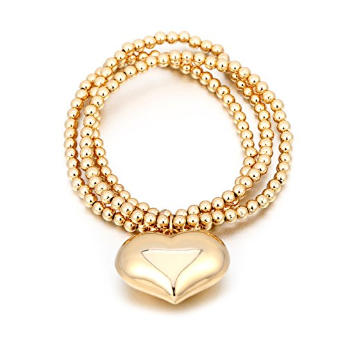 26934ae3a Women Charms Bracelet Stretch Bracelets for Girls Bead Bangle Lucky Love  Heart Charm Bracelet Adjustable Cuff Bracelet with Copper Bell (Gold Plated  Copper ...