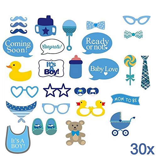 "JZK 30 Stücke ""It's a boy"" blau Junge Foto Brille Masken Schnurrbart Krawatte Photobooth Props Set Requisiten Deko zum Geburtstag Party Taufe Babyparty Baby Shower Baby Dusche"