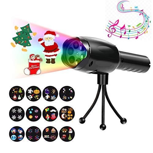 (LED Kinder Projektor Taschenlampe, Innosinpo tragbar 2 in 1 Deko Licht & Handprojektor mit 12 Dias Kinder Frühen Pädagogischen Spielzeug für Haus Party, Geburtstag, Weihnachten, Geburtstagsparty)