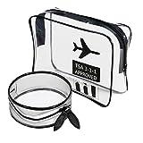 Cancella trousse approvato TSA Carry On aeroporto aereo quart Sized 3 – 1-1 kit da viaggio bagaglio sacchetto cosmetico borse bagagli per uomo e donna TPU material (Una Borsa +Una Piccola Borsa)
