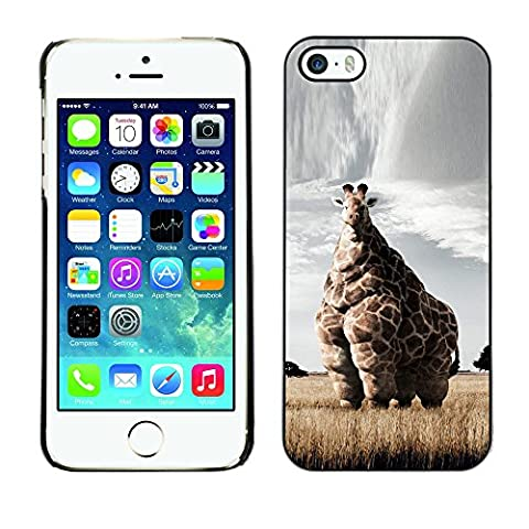 Qstar Art & Design plastique dur Coque de protection rigide pour Cas Case pour Apple iPhone 5 / iPhone 5S ( Giraffe Art Savannah Safari Art Africa Animal)
