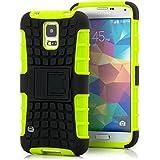 Saxonia Outdoor Silikon Schutzhülle für Samsung Galaxy S5 / S5 Neo Hybrid Case Handyhülle Schwarz-Grün