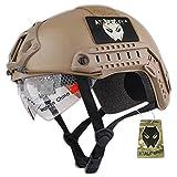 ATAIRSOFT Casco de Estilo SWAT, Tipo MH rápido (L/XL) para Airsoft y Paintball Caza CQB Shooting Gear w/Goggle Tierra Oscuro