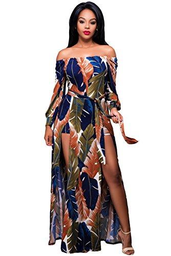 Nuova gonna da donna elegante stampa colorata foglia Off spalla Tuta taglia L UK 12EU 40