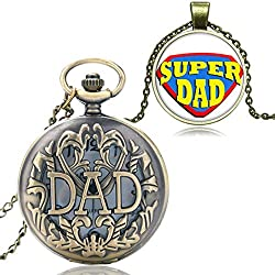 XIGEYA Father's Day DAD Bronze Pendant Quartz Hollow Pocket Watch Bronze Mens Gift & Gift Box