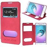 UKDANDANWEI Samsung Galaxy A5 (2016) [CJ] Coque Étui - Magnétique View avec Fenêtre Etui Cuir Coque housse et Stand pour Samsung Galaxy A5 (2016) - Rouge
