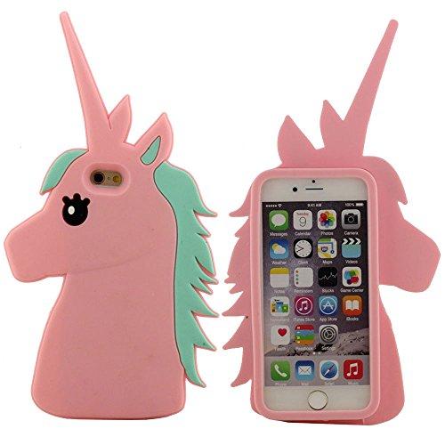 """Case Cover für iPhone 6 6S 4.7 Zoll, Schutzhülle iPhone 6 Hülle - Schwarz, Weiche Silikon-Gel-Stil Schön 3D Pferd Entwurf (iPhone 6 Plus 5.5"""" nicht fit) Pink"""