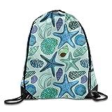 HIDFAA Kordelzug Bag Fashion Drawstring Gym Seashells and Starfish Drawstring Backpack Travel Bag...