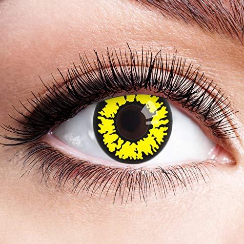 Farbige Kontaktlinsen Gelb Motivlinsen Ohne Stärke mit Motiv Gelbe Linsen Halloween Karneval Fasching Cosplay Kostüm Yellow Werwolf Eye
