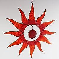 Fenster Deko zum Aufhängen Sonne rot | Deko Sonne aus Resin | Handgemacht | Sonnenfänger | Fensterdeko Sonne