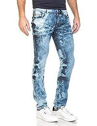 BLZ jeans - Jean homme bleu délavé surteint et usé
