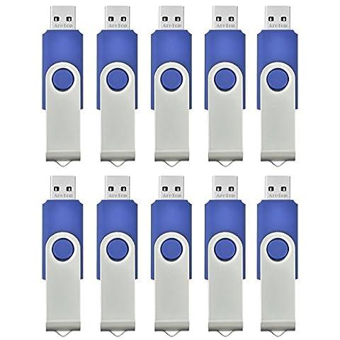 AreTop 10 stück 4GB USB Stick Speicher high speed USB 2.0 (Blau)