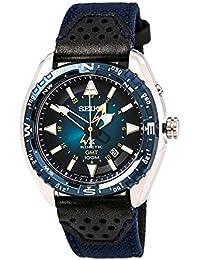 Seiko sun059Hombre Prospex Kinetic GMT Acero inoxidable Nylon/Cuero Band azul Esfera Reloj de pulsera