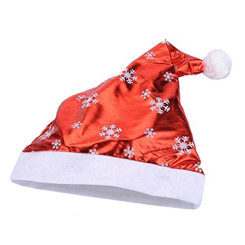 olausmütze Hut mit Pelzrand und Glitzer für Santa Claus Kostüm Familie (RedSnow) ()