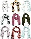 #7: ICW Girls' Tassels Scarf (Multi-Coloured Small) 22 x 72 Inch Chiffon Export Surplus Quality 9 pc (PRINT MAY VARY)
