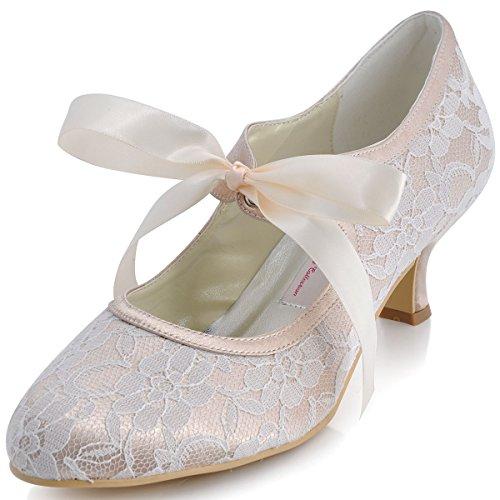 ElegantPark A3039 Escarpins Femme Ruban Talon Bout Rond Dentelle Satin Mary Janes Chaussures de Mariage Mariee Champagne