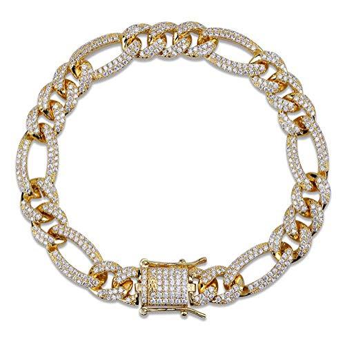 WJMSS Herren Miami Cuba Armband mit Zirkon vergoldet Hip Hop Eisen Lock Style Schmuck Schnalle Armband,Gold,7inches (Zoll Gold-armband 7)