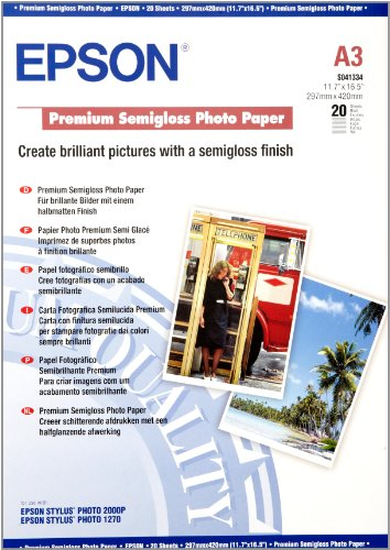Epson (A3) Premium Semi-Gloss Photo Paper (20 Sheets) 251gsm lowest price