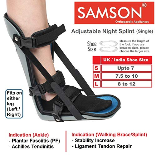 Samson Adjustable Night Splint - Light Weight, Custom Fit & Soft Foam Laminate, Relief from Planter Fasciitis, Achilles Tendonitis, Heel Spurs, Muscle Tightening, Runner's Cramp, Can be used for Either Leg (Left / Right) (For Men & Women) (Size : Medium)