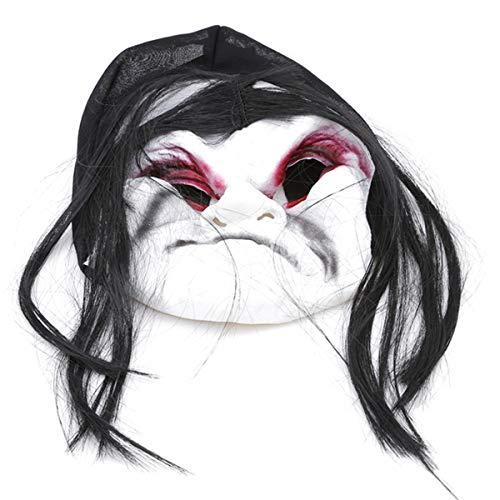 (Winwinfly Halloween Maske Lange Haare Ghost Scary Maske Requisiten Groll-Geist Hedging Zombie-Maske)