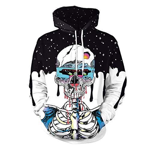 Mjia Cloth Halloween-Kostüm, interstellaren Trend, Schädel, 3D Digitalprint Pullover, A, XL