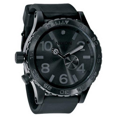 Nixon Men's A058001-00 Quartz Watch with Black Dial Analogue Display and Black Plastic Strap