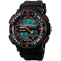 Unitedeal New Brand Box Men's Teenagers Multifunctional Outdoor Running Sports Waterproof Dual Time Digital Chronograph Wrist Watch Red