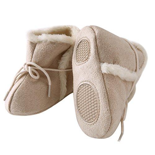 CHIC-CHIC Baby Steifel Winter Füßlinge Anti-rutsch Weich Warm Snow Boots Babyschuhe Prewalker (3-5 Monate, Rot) Beige
