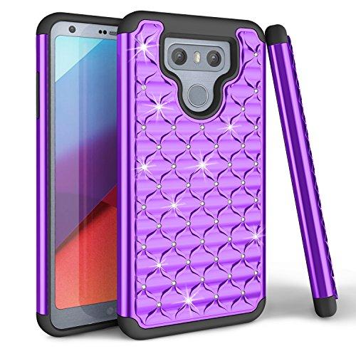 TILL LG G6 Hülle, LG G6 Schutzhülle, Everwell Luxus Glänzend Glitzer Bling Handyhülle Stoßfest Soft Silikon TPU Hybrid Bumper Crystal Hardcase Case Cover für LG G6 - Lila Crystal Bling Case Cover