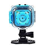 Tyhbelle Kinder Action Kamera, Kamera Wasserdichte Digital Video HD 1080P Sport Kamera Camcorder DV 1.77 ''LCD-Bildschirm für Geburtstag Urlaub (Blau)