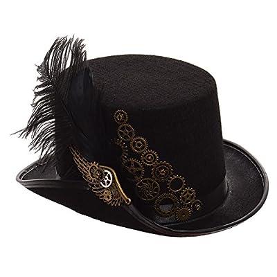 Sombrero Steampunk Negro Pluma Engranajes GRACEART, moda steampunk, sombreros steampunk mujeres