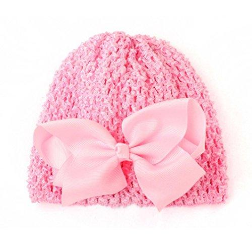 0508efdd2ebbf Ouneed® Bonnet tricote + Epingle de Pappillon Noeud 15 * 14CM (Rose)
