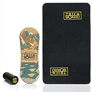 Trickboard Balance Board – SET Less Talk – All Season SURF/SKATE/SNOW + Roller + Teppich – Balance training
