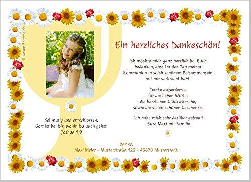 Dankeskarten zur Kommunion, für Mädchen, mit oder ohne Foto, süße moderne Karten, Text änderbar - 20 Karten, 17 x 12 cm groß