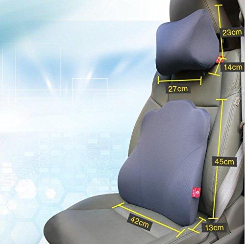 Alta densità spazio cotone memoria seggiolino supporto cuscino/nero, cuscino di supporto lombare + cuscino del (Nervatura Cotone Collo Alto)