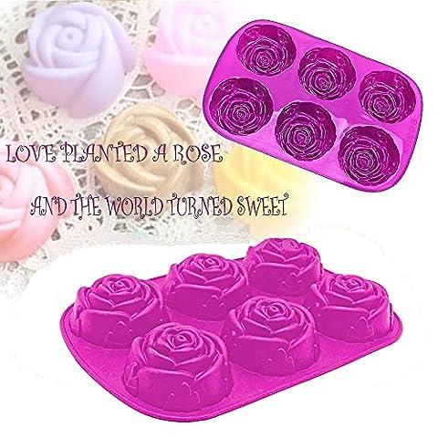 Moules à Gâteaux en silicone, Homeya 6Cavités Forme de rose Thanksgiving Moule en silicone, Chocolat Sugarcraft Fondant Outil de décoration, Savon Moule, Moule 1 Pack violet/rose