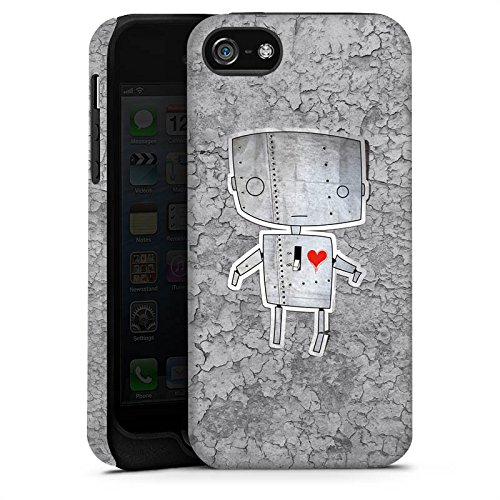Apple iPhone 5s Housse Étui Protection Coque Robot C½ur Graphique Cas Tough terne