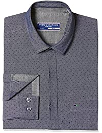 Indigo Nation Men's Printed Slim Fit Cotton Formal Shirt