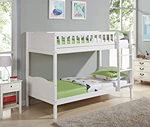 Unmatchable Children's Pine Bunk Bed Frame Single 3FT with Full Panel Headboard