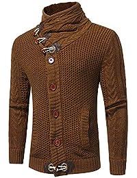 JiaMeng Chaqueta de Punto Informal suéter Abrigo Tejido suéter Abrigos Cardigans Cremalleras de Bolsillo Chaquetas Hombre Moto Deportivas