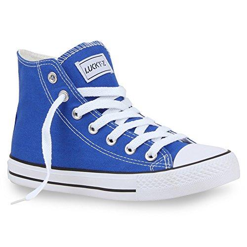 Sportliche Damen Sneakers |Stoffschuhe Camouflage Schnürer | Sneaker High Neon | Sportschuhe Blau