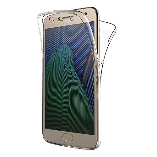 Moto G5 Plus Hülle, AICEK 360° Full Body Transparent Silikon Schutzhülle für Motorola Moto G5 Plus Case Crystal Clear Durchsichtige TPU Bumper Lenovo Moto G5 Plus Handyhülle (5,2 Zoll)