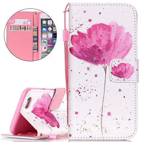 iPhone 6S Plus Hülle, iPhone 6 Plus Hülle, ISAKEN iPhone 6S Plus /6 Plus Hülle Muster, Handy Case Cover Tasche for iPhone 6S Plus / 6 Plus, Bunte Retro Muster Druck Flip Cover PU Leder Tasche Case Sch Blume Pink
