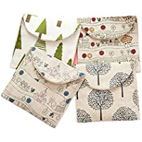 Cdet 1X Mini monedero bolso lindo de la carpeta de la esponja del algodón de la salud del paquete de la servilleta del algodón retro lindo de la historieta y del lino Estilo aleatorio