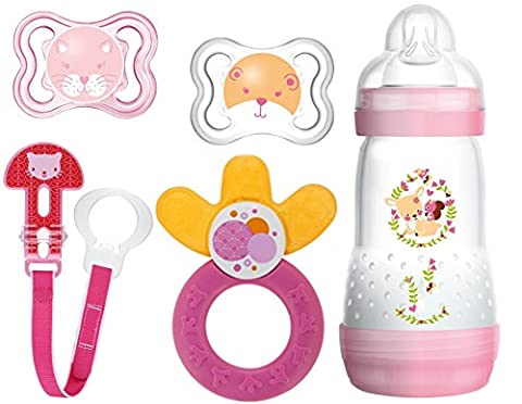 MAM Starter Set - Air Schnuller 0-6 Monate, Anti Colic Flasche 260ml , Fashion Clip & Cooler für